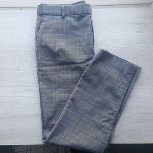 Grey and blue check-plaid pants